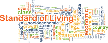 inequality: Background concept wordcloud illustration of standard of living