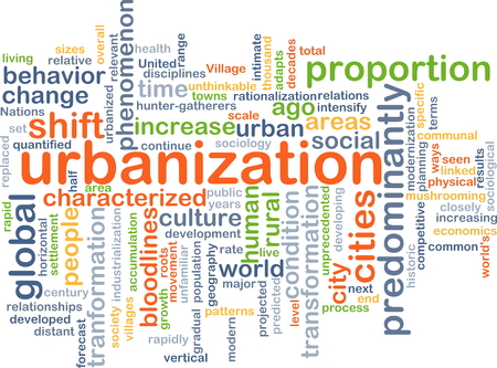 urbanized: Background concept wordcloud illustration of urbanization Stock Photo