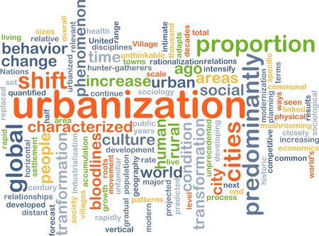 urbanized: Background concept wordcloud illustration of urbanization Stock Photo