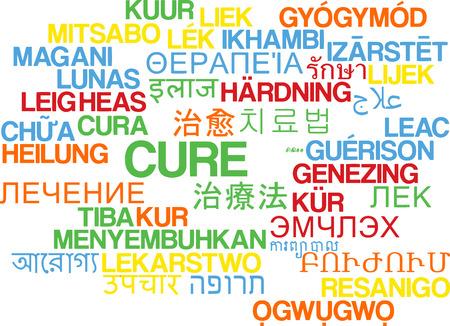 Background concept wordcloud multilanguage illustration of cure