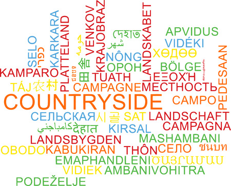 english countryside: Background concept wordcloud multilanguage illustration of countryside Stock Photo