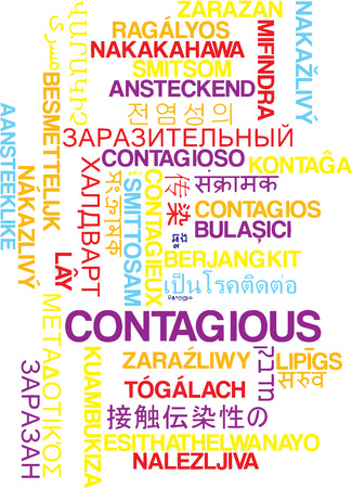 contagious: Background concept wordcloud multilanguage illustration of contagious