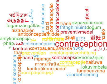 contraception: Background concept wordcloud multilanguage illustration of contraception