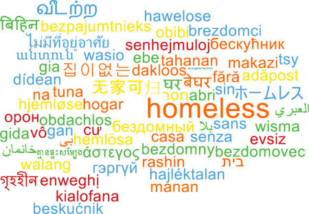 Background concept wordcloud multilanguage illustration of homeless