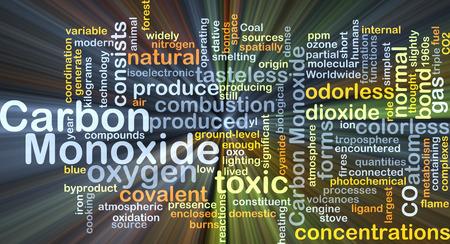Wordcloud Hintergrund Konzept von Kohlenmonoxid