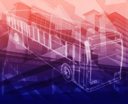 commuting: Abstract background illustration bus service public transport