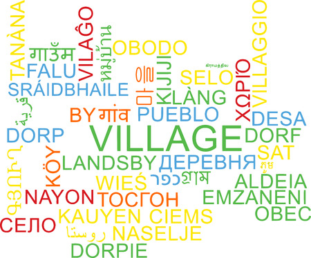 english village: Background concept wordcloud multilanguage illustration of village Stock Photo