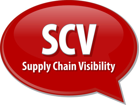 term: word speech bubble illustration of business acronym term SCV Supply Chain Visibility