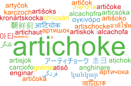 multilanguage: Background concept wordcloud multilanguage illustration of artichoke Stock Photo