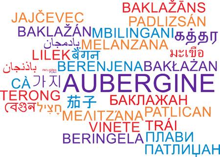 aubergine: Background concept wordcloud multilanguage illustration of aubergine