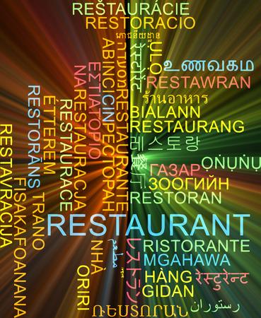 multilanguage: Background concept wordcloud multilanguage illustration of restaurant