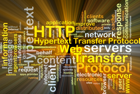distributed: Background concept wordcloud illustration of hypertext transfer protocol HTTP Stock Photo