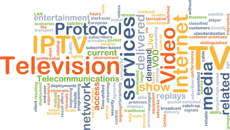 protocol: Background concept wordcloud illustration of internet protocol television IPTV