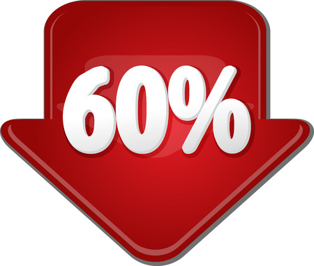 numbers clipart: Downward glossy red arrow 60 percent discount