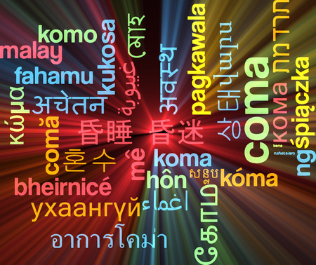 coma: Background concept wordcloud multilanguage illustration of coma