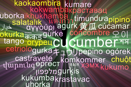 wordcloud: Background concept wordcloud multilanguage illustration of cucumber Stock Photo