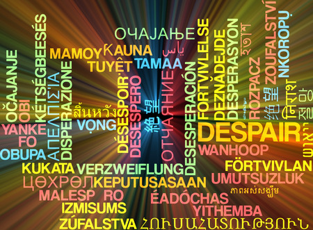 hopelessness: Background concept wordcloud multilanguage illustration of despair