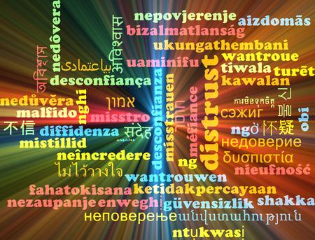 desconfianza: Concepto de fondo wordcloud ilustración multilenguaje de desconfianza