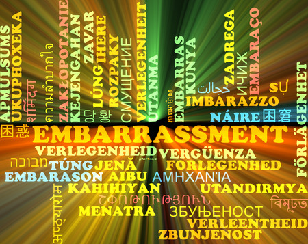embarrassment: Background concept wordcloud multilanguage illustration of embarrassment