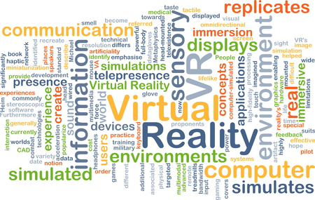 Background concept wordcloud illustration of virtual reality VR