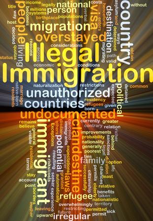 illegal: Background concept wordcloud illustration of illegal immigration