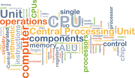 ic: Background concept wordcloud illustration of central processing unit CPU
