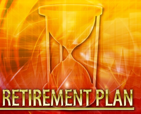 retirement  age: Abstract background illustration pension retirement plan Stock Photo
