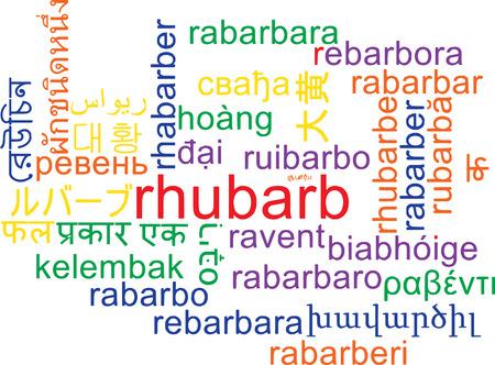 rhubarb: Background concept wordcloud multilanguage illustration of rhubarb