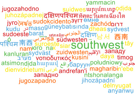 southwest: Background concept wordcloud multilanguage illustration of southwest