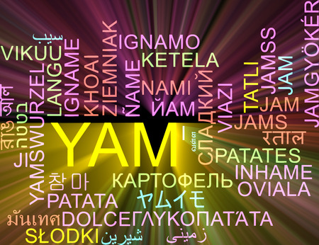 yam: Background concept wordcloud multilanguage illustration of yam