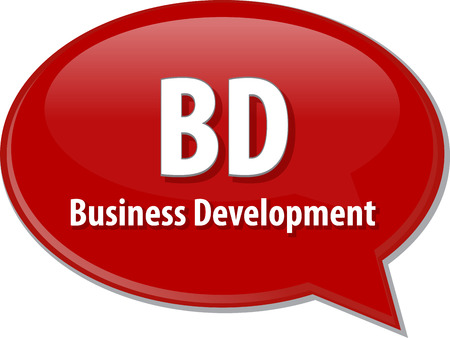 business words: word speech bubble illustration of business acronym term BD Business Development