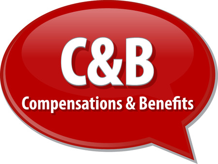 cb: word speech bubble illustration of business acronym term C&B Compensations & Benefits Stock Photo