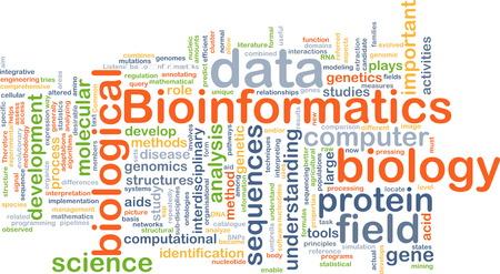 sequences: Background concept wordcloud illustration of bioinformatics