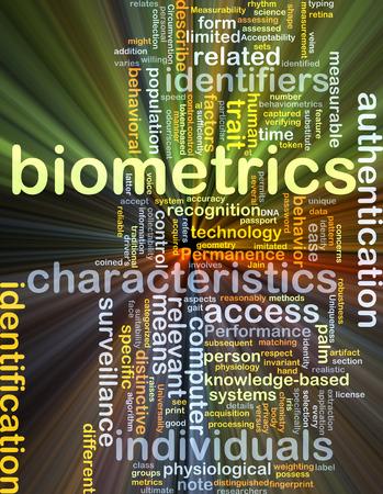 biometrics: Background concept wordcloud illustration of biometrics Stock Photo