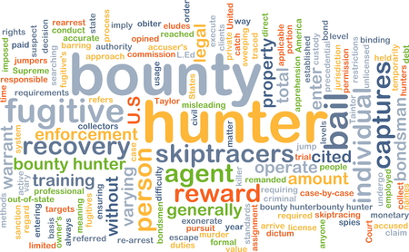 cited: Background concept wordcloud illustration of bounty hunter