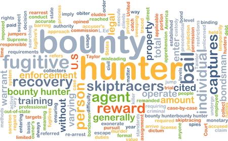 bounty: Concepto de fondo wordcloud ilustración de cazarrecompensas Foto de archivo