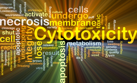 necrosis: Background concept wordcloud illustration of cytotoxicity Stock Photo