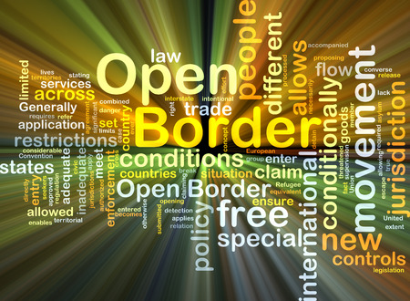 conditionally: Background concept wordcloud illustration of open border