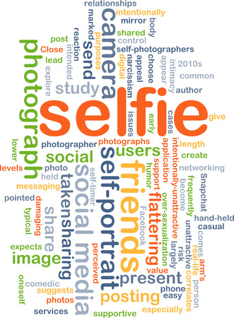 Background concept wordcloud illustration of selfie