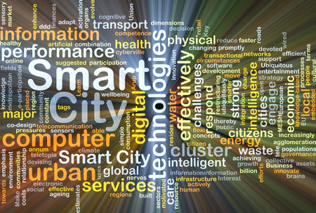 Background concept wordcloud illustration of smart city