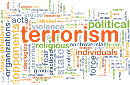 ideological: Background concept wordcloud illustration of terrorism