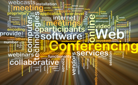 functionality: Background concept wordcloud illustration of web conferencing Stock Photo