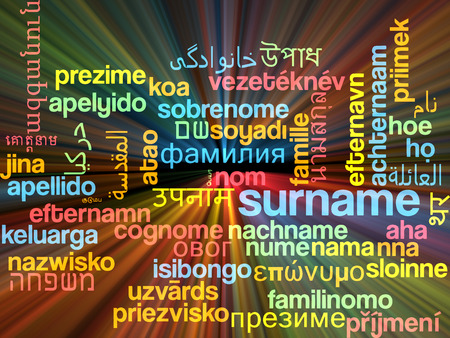 surname: Background concept wordcloud multilanguage illustration of surname  Stock Photo