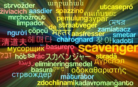 recolector de basura: Concepto de fondo wordcloud ilustraci�n multilenguaje de carro�ero Foto de archivo