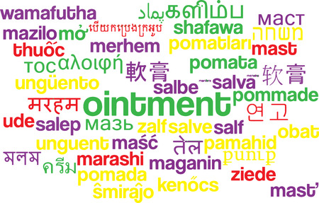 ointment: Background concept wordcloud multilanguage illustration of ointment
