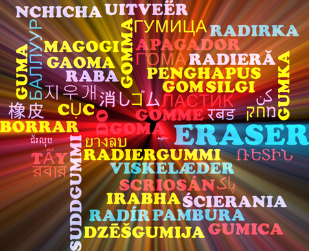 multilanguage: Background concept wordcloud multilanguage illustration of eraser