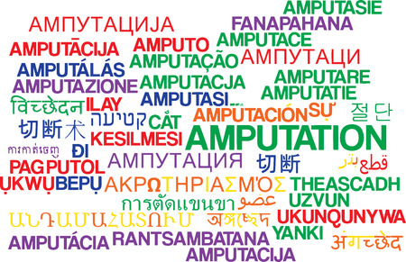 amputation: Background concept wordcloud multilanguage illustration of amputation Stock Photo