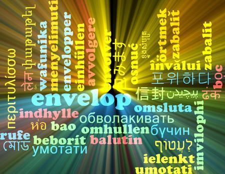 envelop: Background concept wordcloud multilanguage illustration of envelop