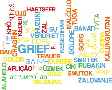 grief: Background concept wordcloud multilanguage illustration of grief Stock Photo