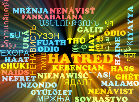 hatred: Background concept wordcloud multilanguage illustration of hatred
